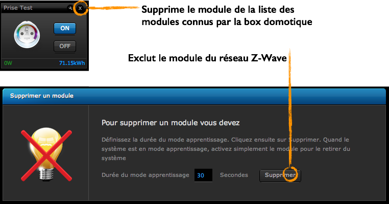 Suppression / Exclusion sur box domotique Fibaro Home Center 2 ou HC Lite