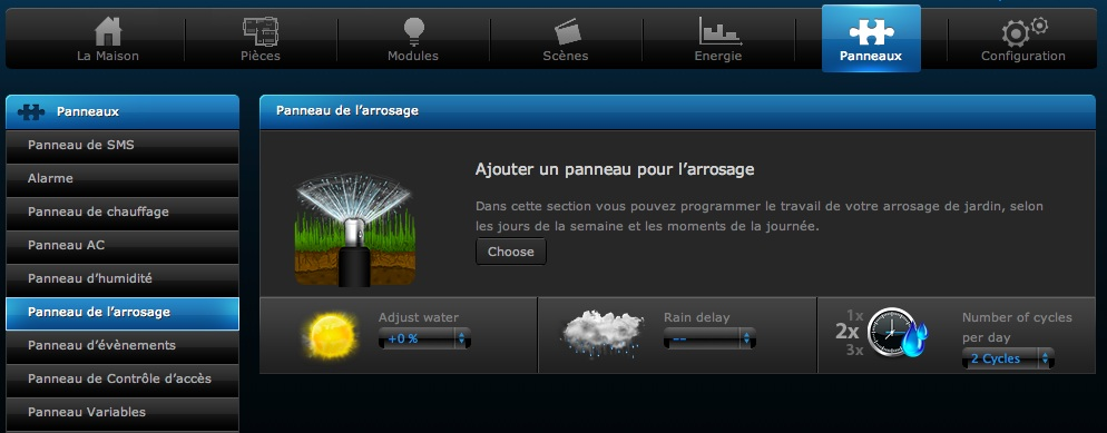 Interface de gestion de l'arrosage avec la box domotique Fibaro HC Lite